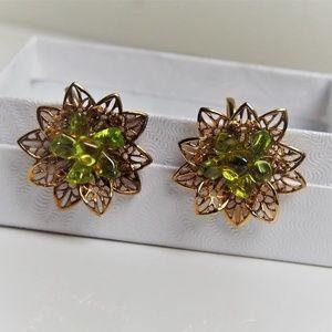 Green Radiant Crystal Floral Vintage Earrings